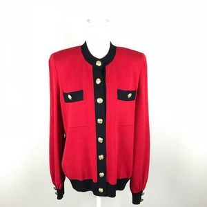 ST. John Collection Gold Button Red Cardigan